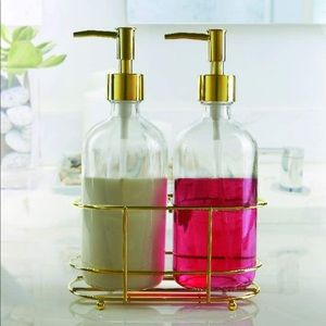 Soap and lotion dispenser with gold detailing and gold tray brand new